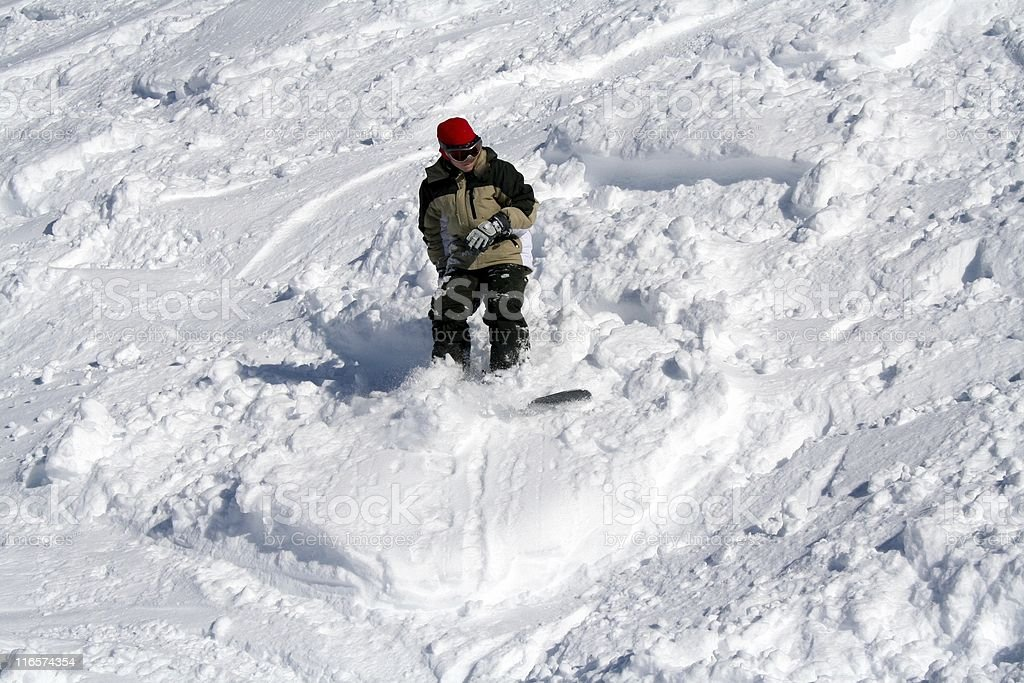 snowboarder in the snow stock photo