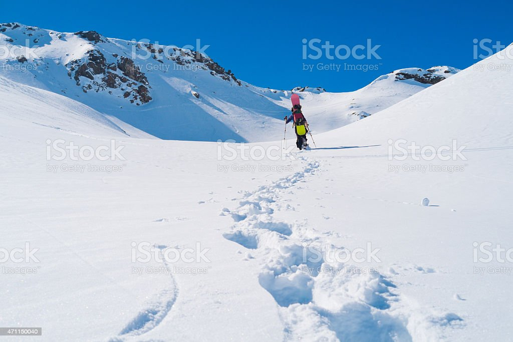 Snowboarder in winter stock photo