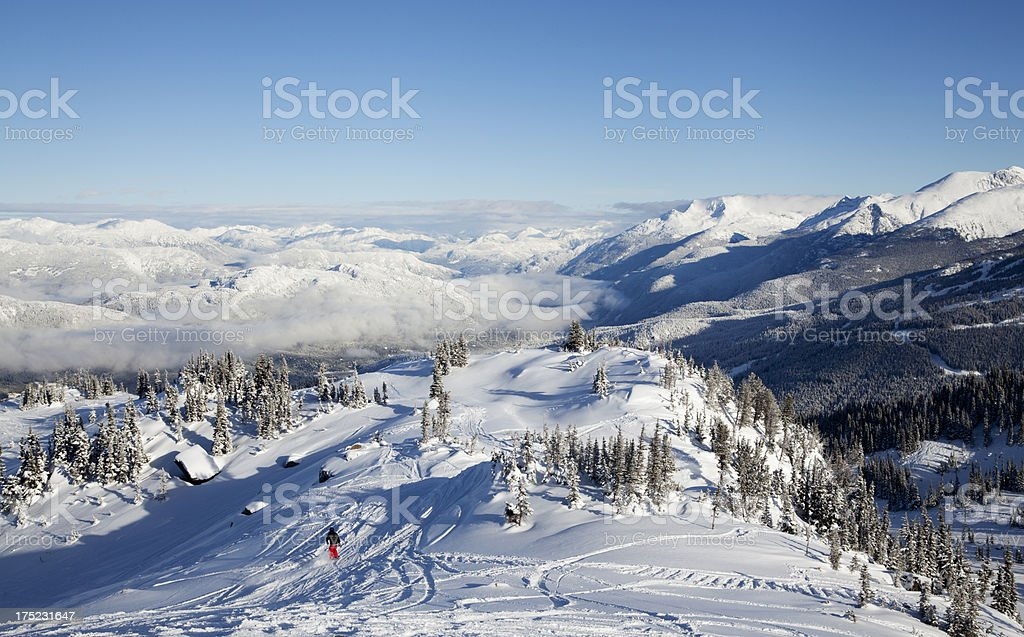 Snowboarder on a Run at Whistler Mountain royalty-free stock photo
