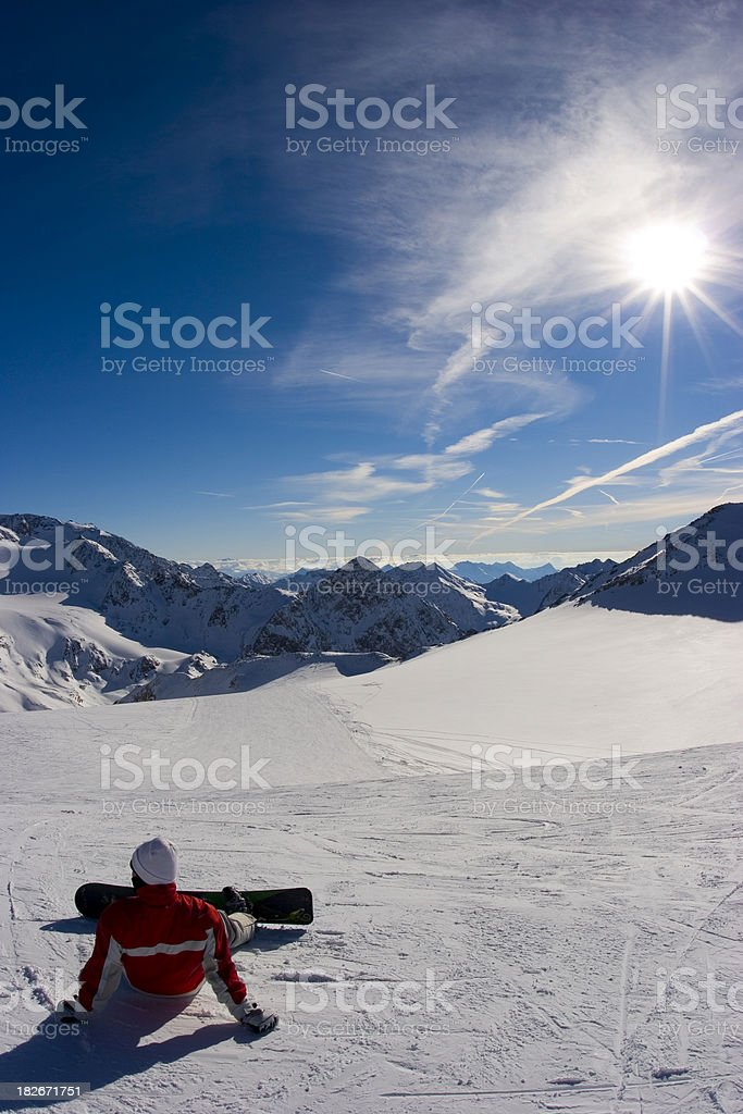 Snowboarder on glacier stock photo