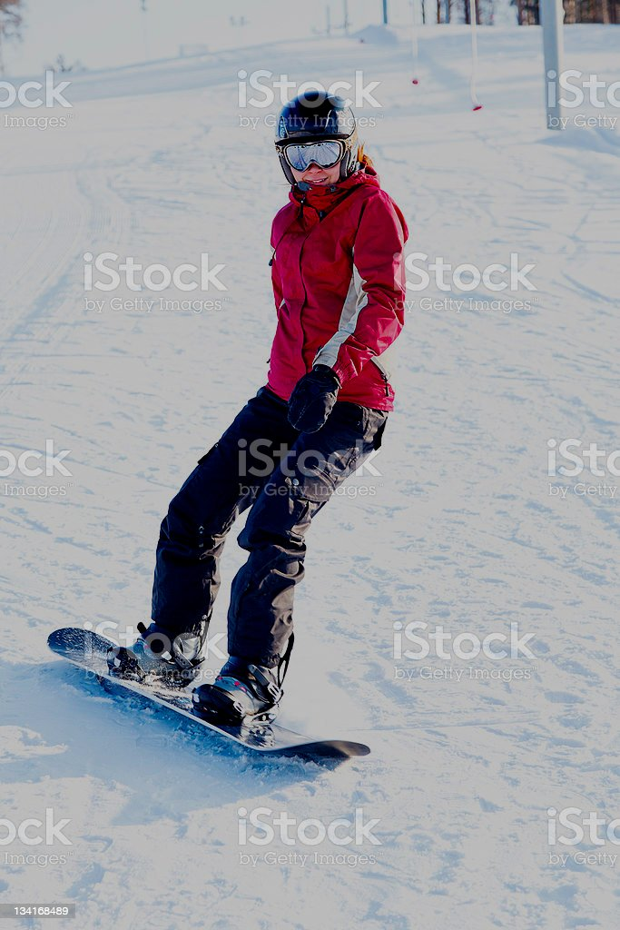 Snowboarder on the snowhill royalty-free stock photo