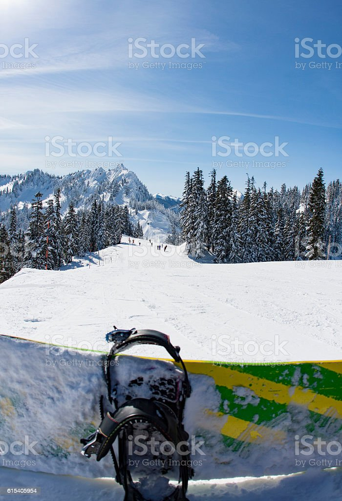 Snowboarder Point of View Top of Ski Resort Snowy Mountain stock photo