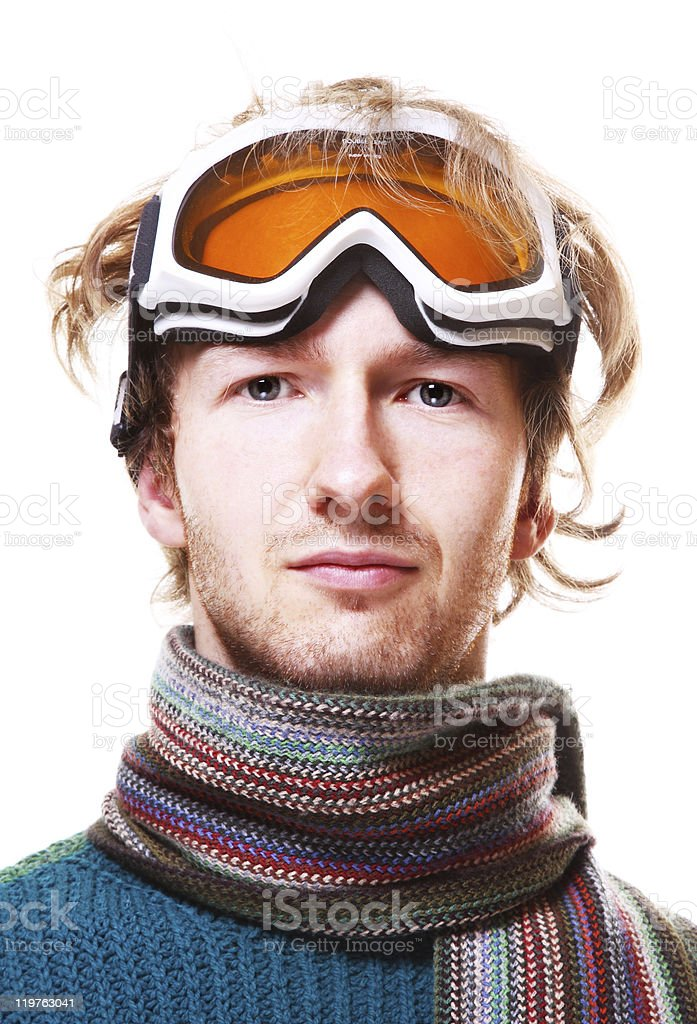 Snowboarder portrait isolated over white royalty-free stock photo