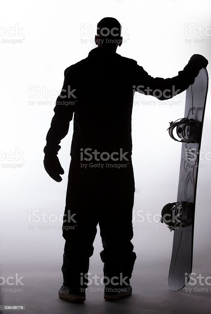 Snowboarder silhouette stock photo
