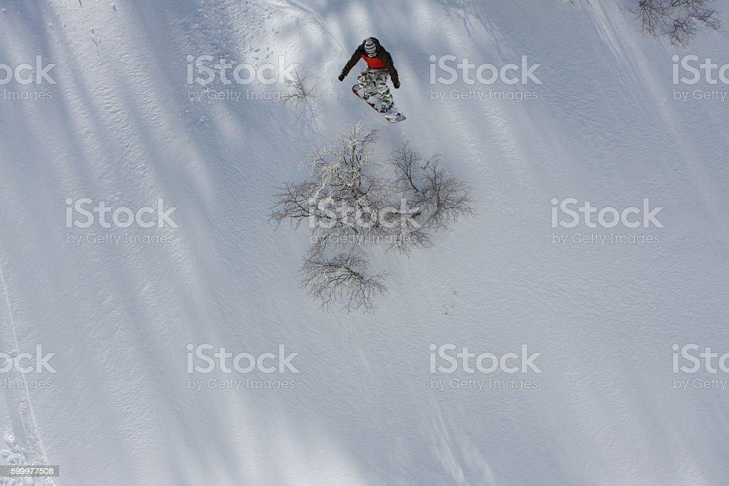 Snowboarder Snow During Winter Ski Resort Nevados De Chilean, Chile stock photo