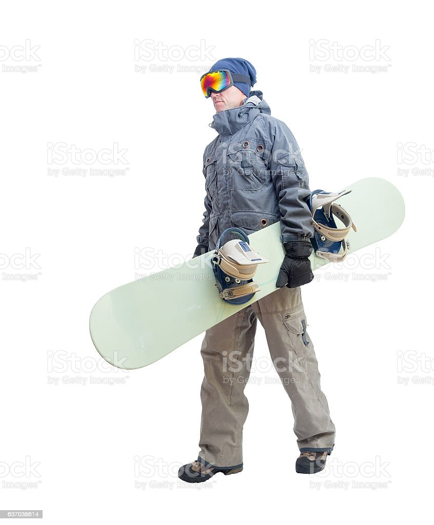 Snowboarder with snowboard deck. Isolated on a white background. stock photo