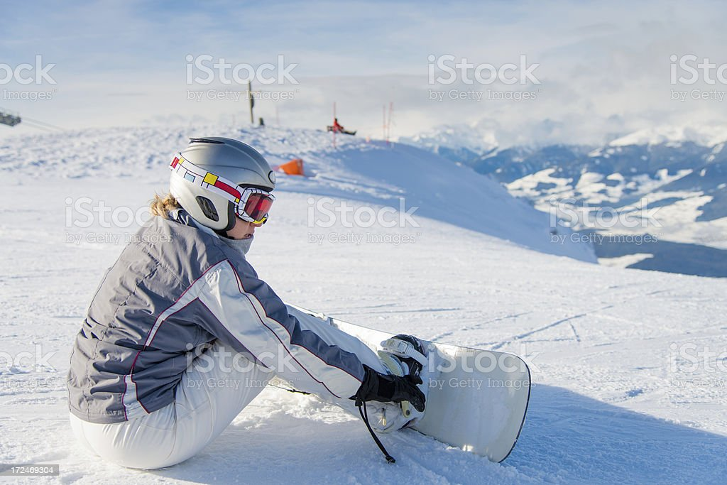 Snowboarder woman royalty-free stock photo