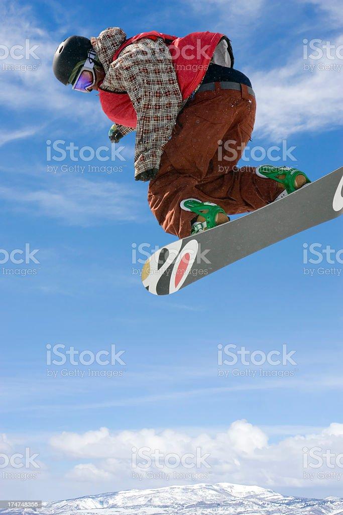 Snowboarder-checkered jacket stock photo