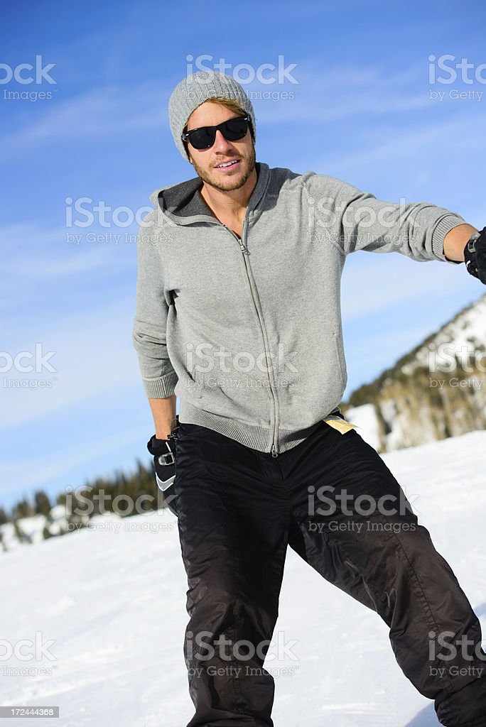 Snowboarder--Male pose royalty-free stock photo
