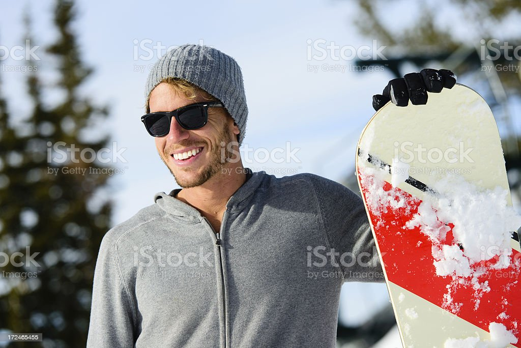 Snowboarder--Male Smiling with Sunglasses royalty-free stock photo