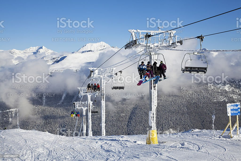 Snowboarders At Top of the Harmony Chair. stock photo