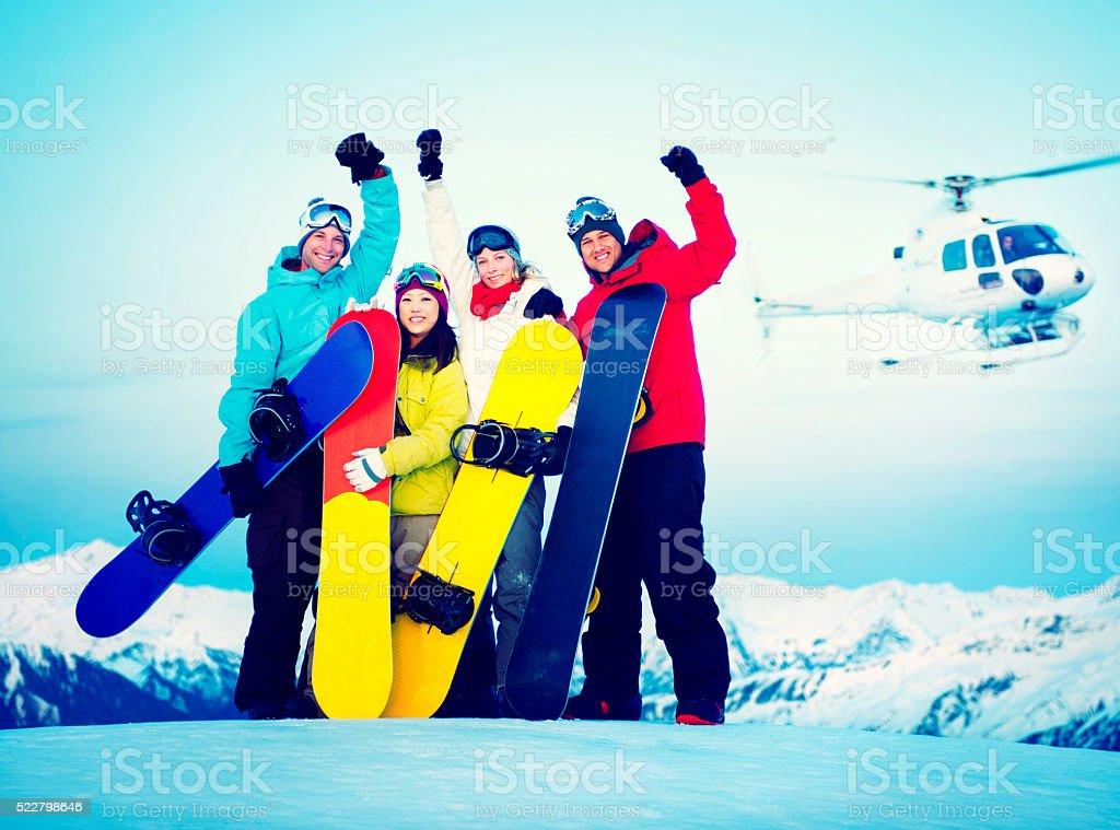 Snowboarders Success Sport Friendship Snowboarding Concept