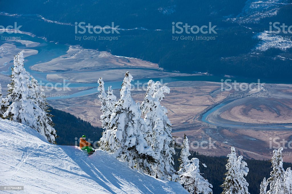 Snowboarding at Revelstoke Mountain Resort stock photo