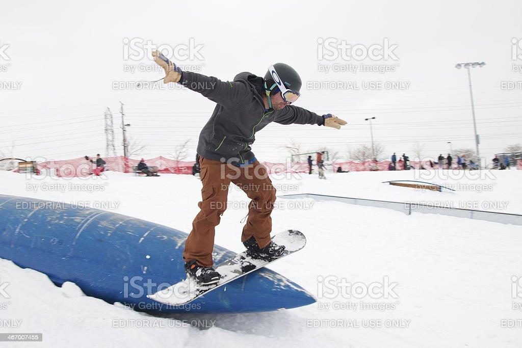 Snowboarding at Ruby Hill Rail Yard Denver Colorado stock photo