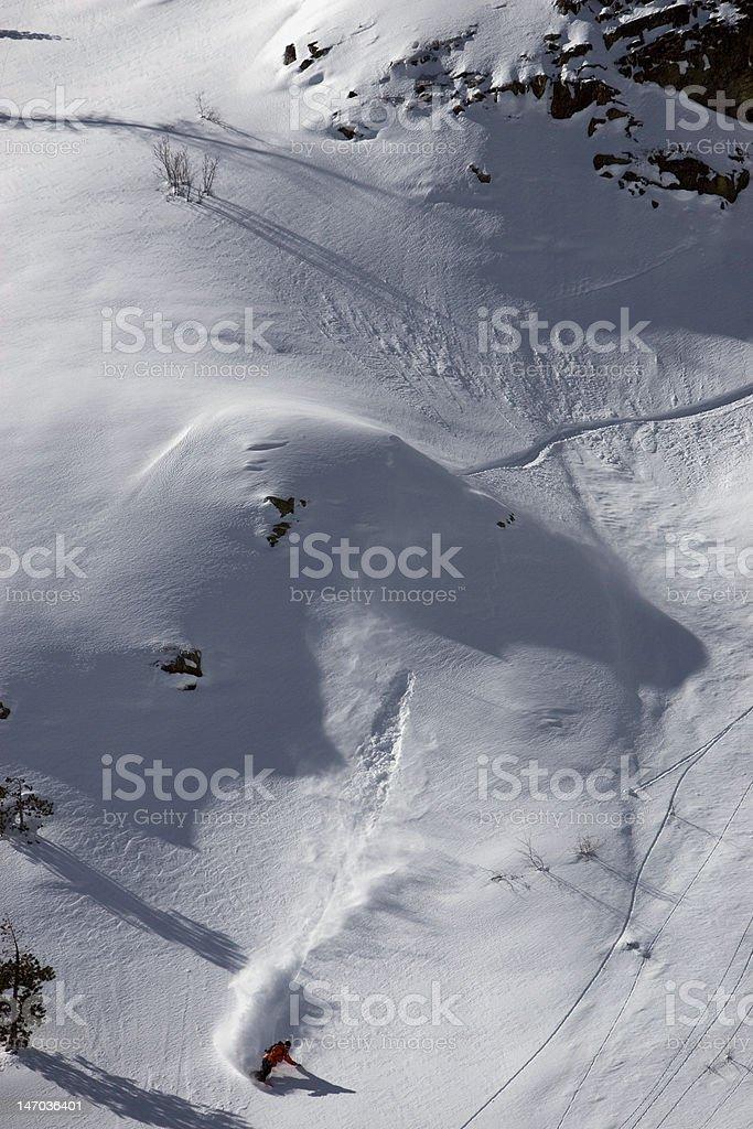 Snowboarding Fresh Powder in Tahoe royalty-free stock photo