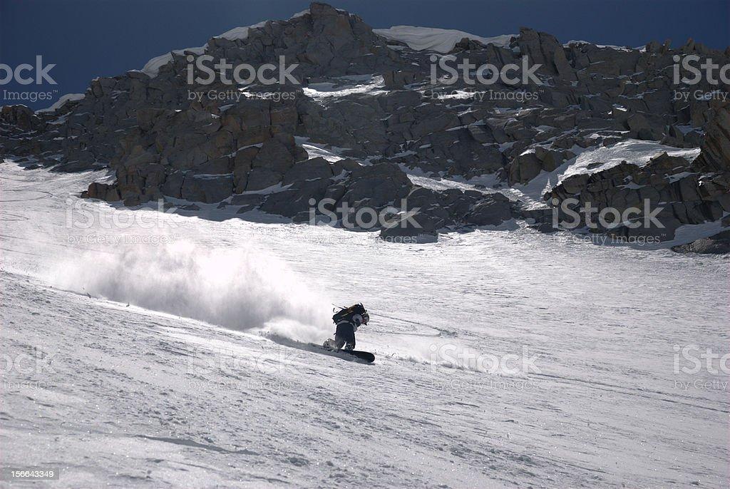 Snowboarding fresh powder royalty-free stock photo