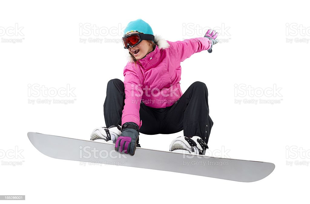 Snowboarding girl with a clipping path stock photo