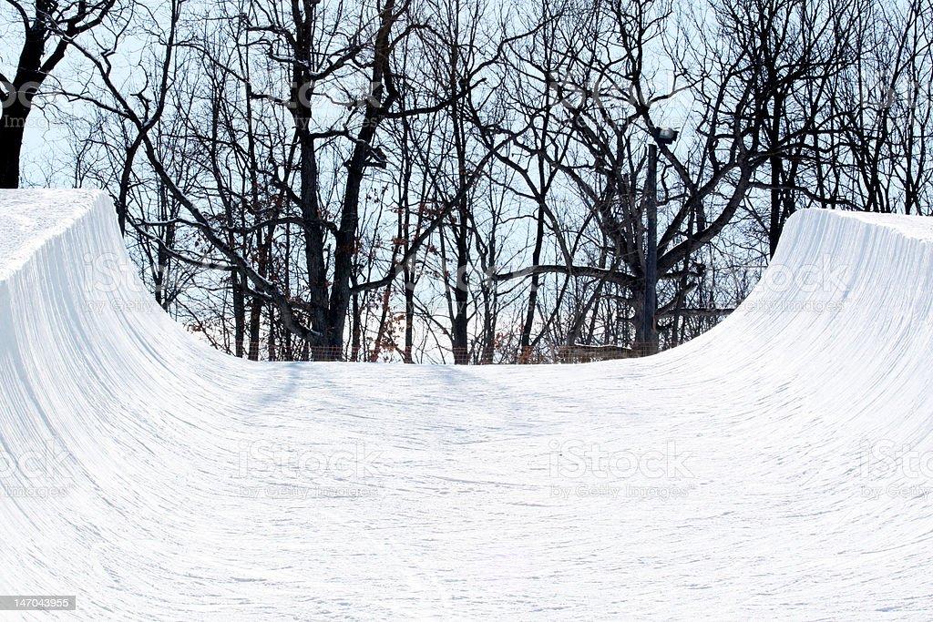 Snowboarding halfpipe stock photo