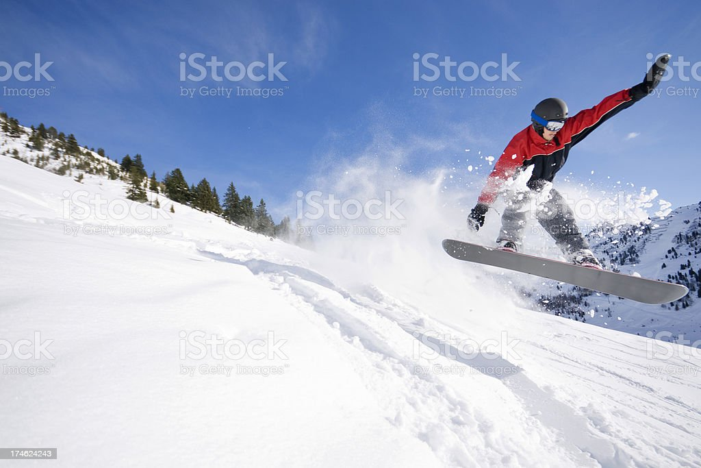 Snowboarding in the Alps royalty-free stock photo