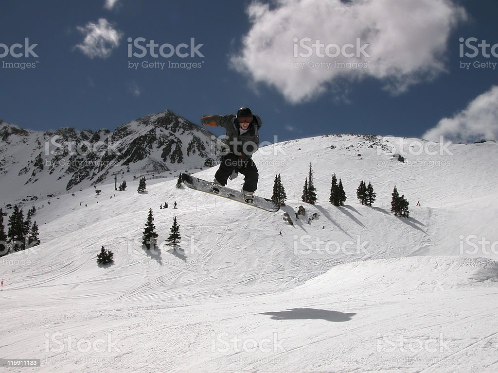 Snowboarding jump royalty-free stock photo