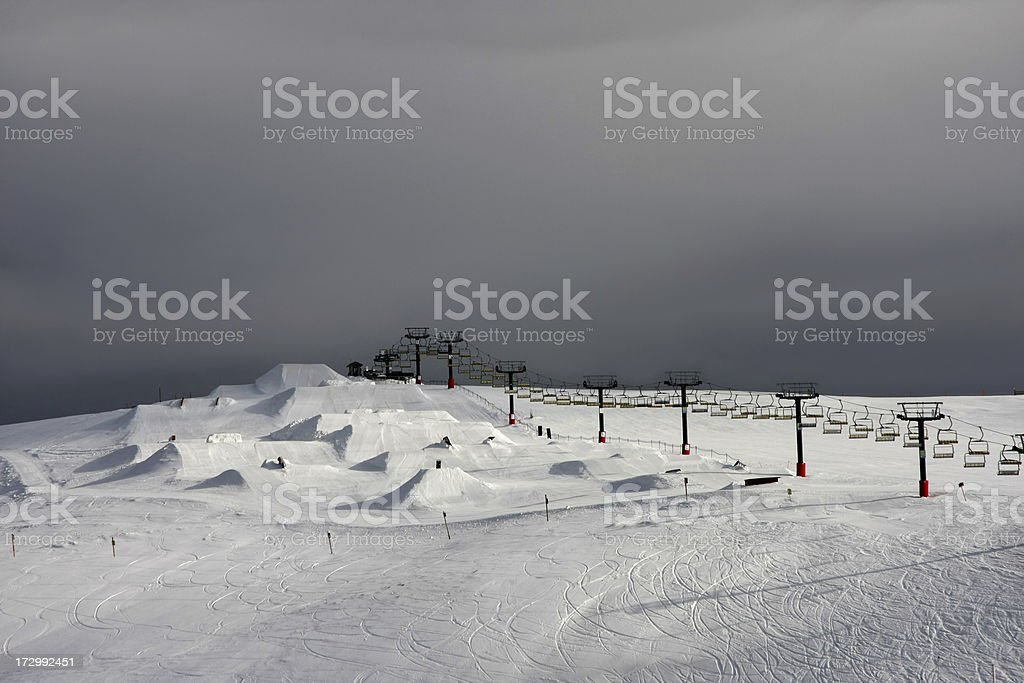 Snowboarding Terrain Park in the mountains stock photo