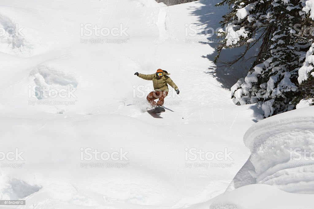 Snowboarding Young Adult Adrenaline Rush Fast High Speed Action stock photo