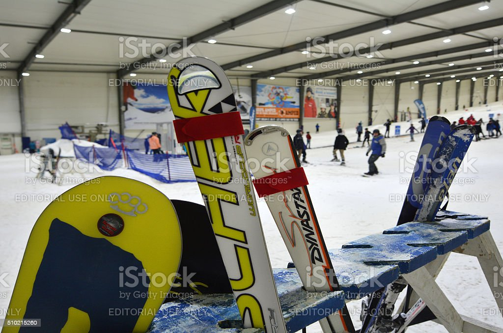 Snowboards rack in Snowplanet in Auckland - New Zealand stock photo