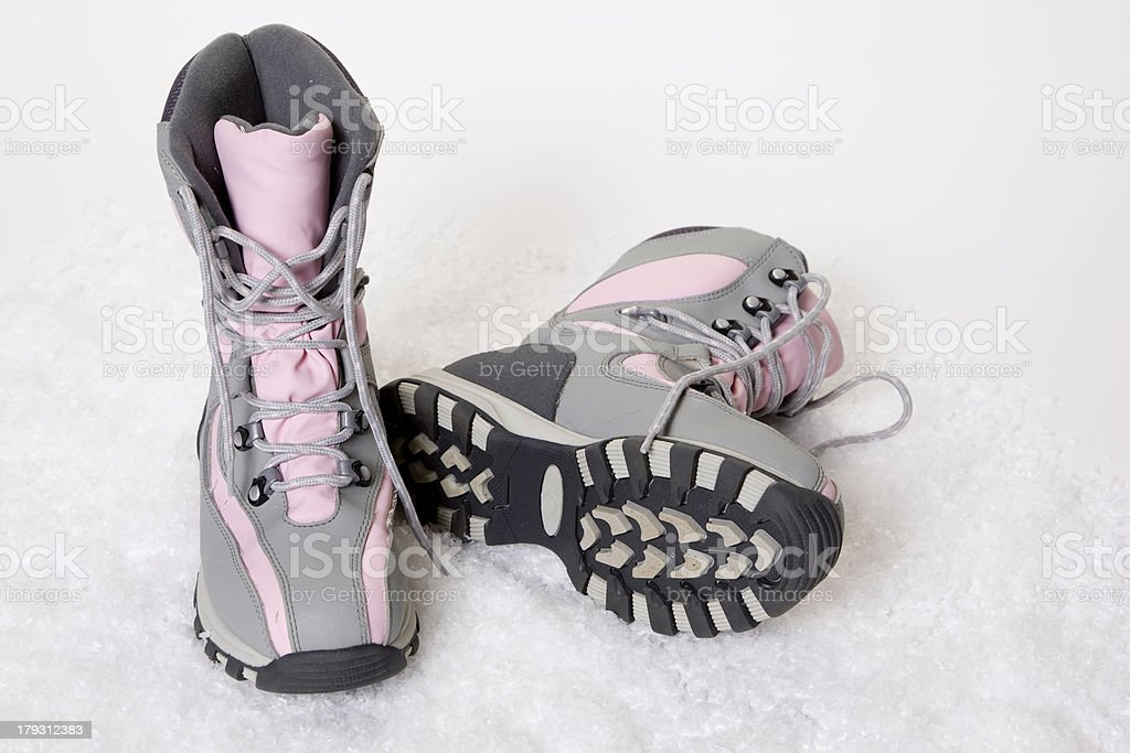 Snowboots in the Snow royalty-free stock photo