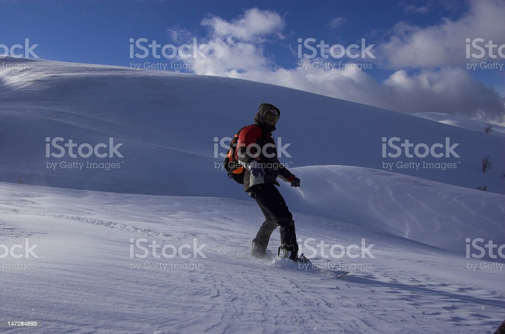 Snowbording free cross-country stock photo