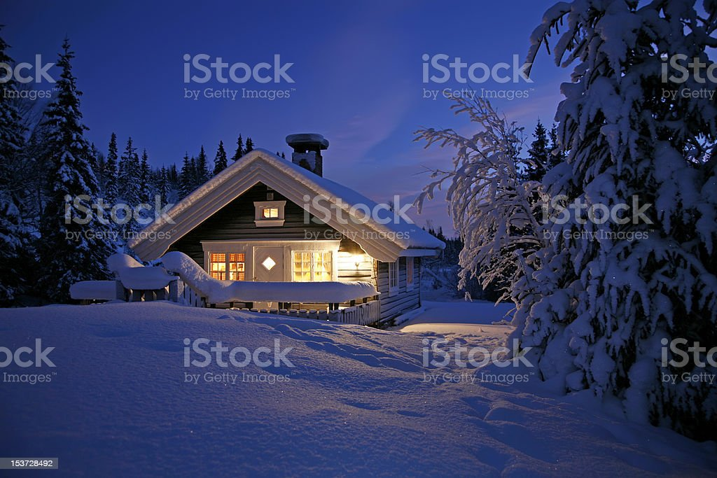 Snowbound Cottage stock photo