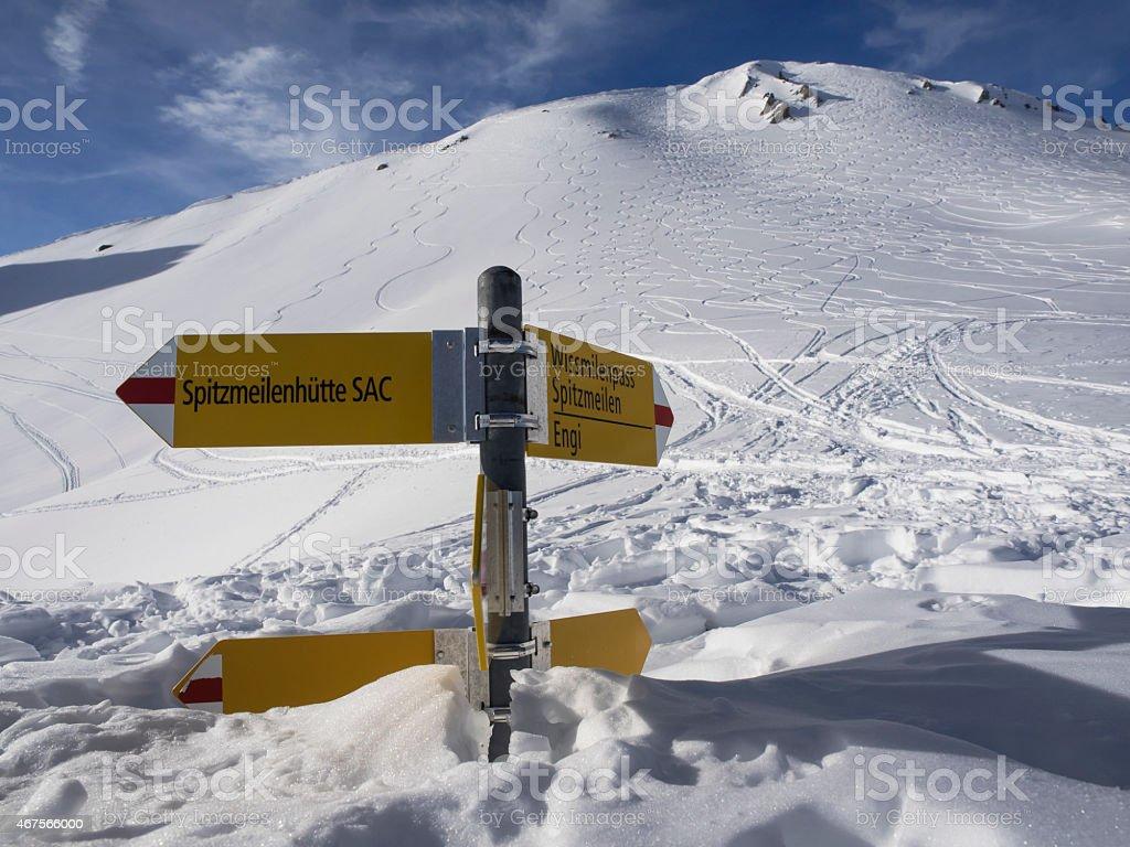 Snowbound sign post, eingeschneiter Wegweiser stock photo