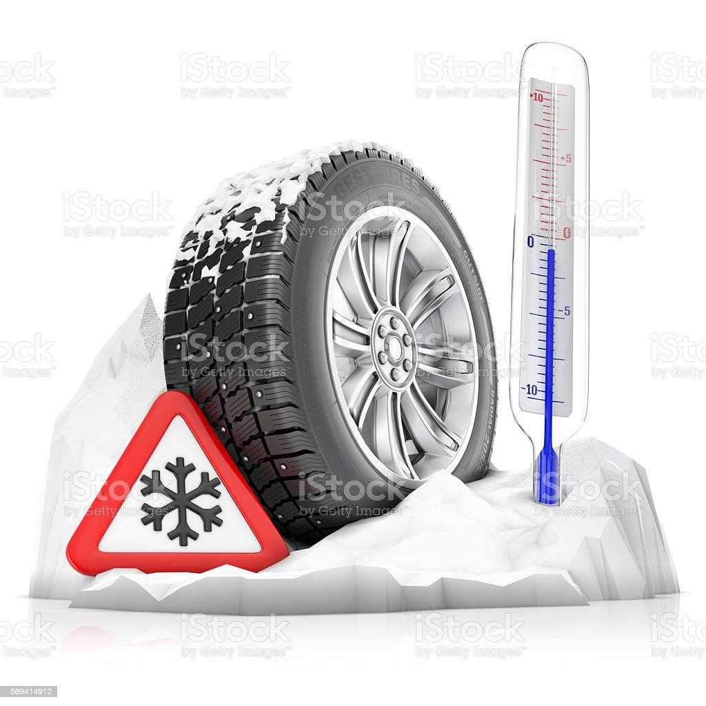 snowbound studded winter tire stock photo