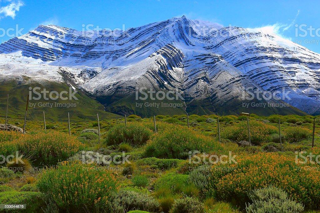 Snowcapped andes at spring,  Chalten, Patagonia Argentina, Los Glaciares stock photo