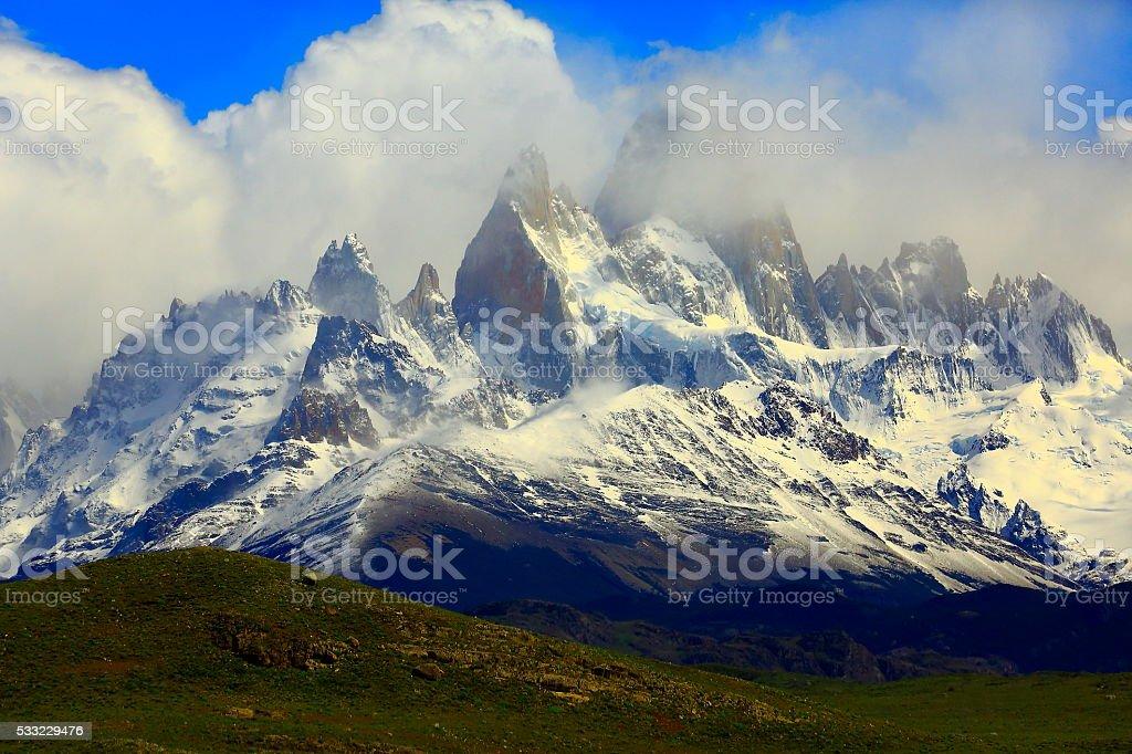 Snowcapped Andes: Cerrto Torre & Fitzroy,  Chalten, Patagonia, Los Glaciares stock photo