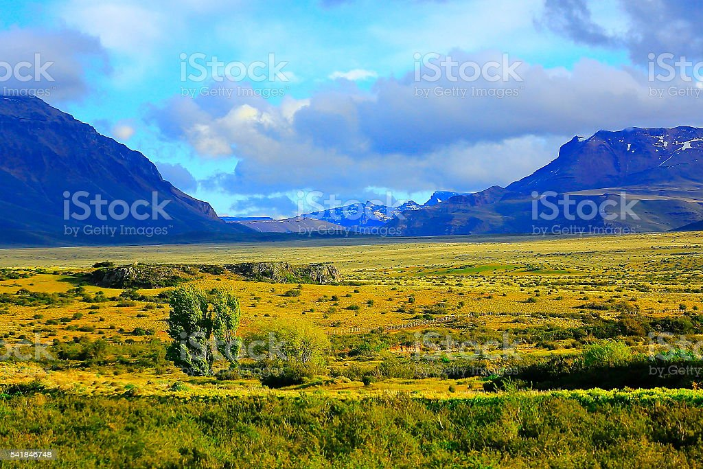 Snowcapped Andes, green pampa meadows estepe,  Argentina, Patagonia landscape stock photo