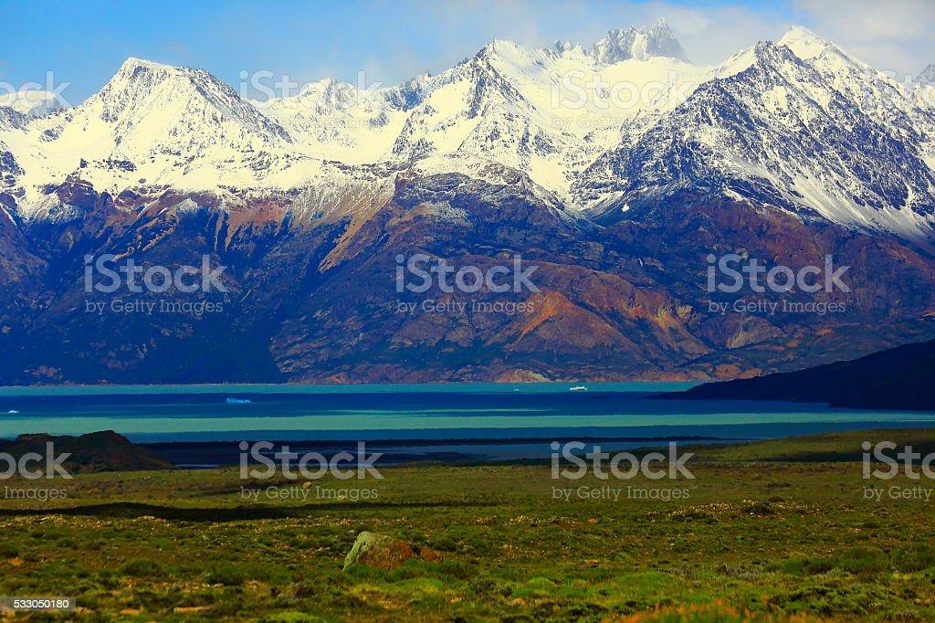 Snowcapped Andes, lake argentino at spring,  Chalten, Patagonia, Los Glaciares stock photo