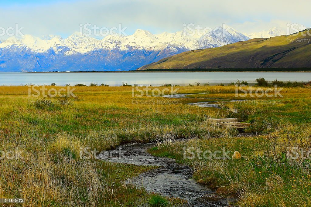 Snowcapped Andes, pampa meadows estepe,  Lake Argentina, Patagonia landscape stock photo