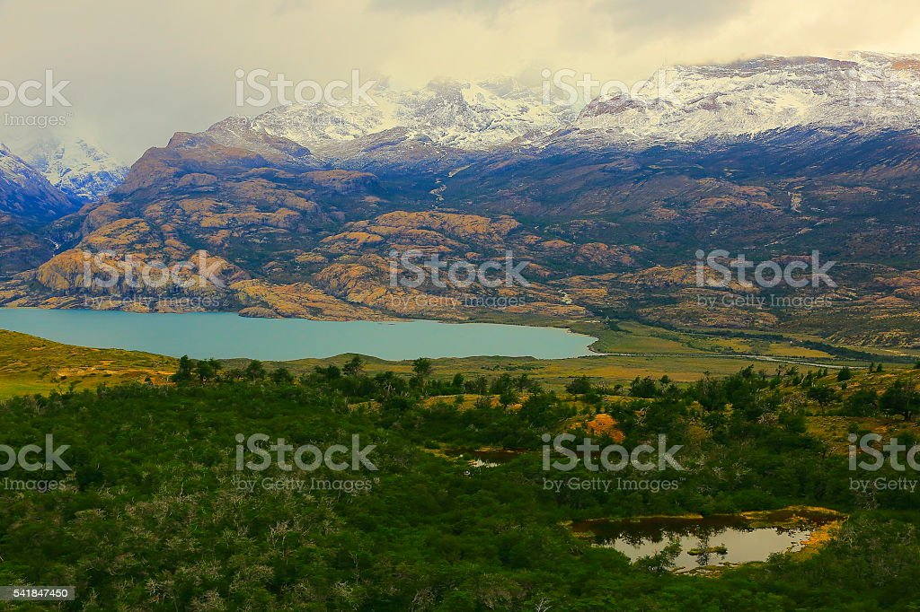 Snowcapped Andes, pampa meadows, lake, forest,  Lake Argentina, Patagonia landscape stock photo