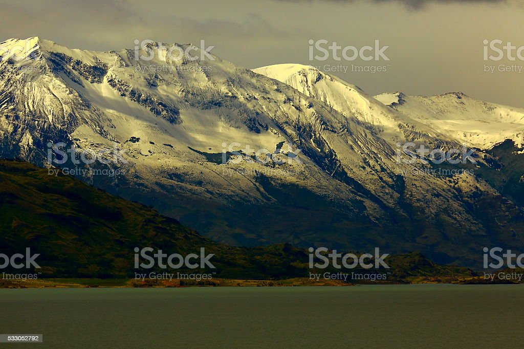Snowcapped Andes sunset, lake argentino,  Chalten, Patagonia, Los Glaciares stock photo