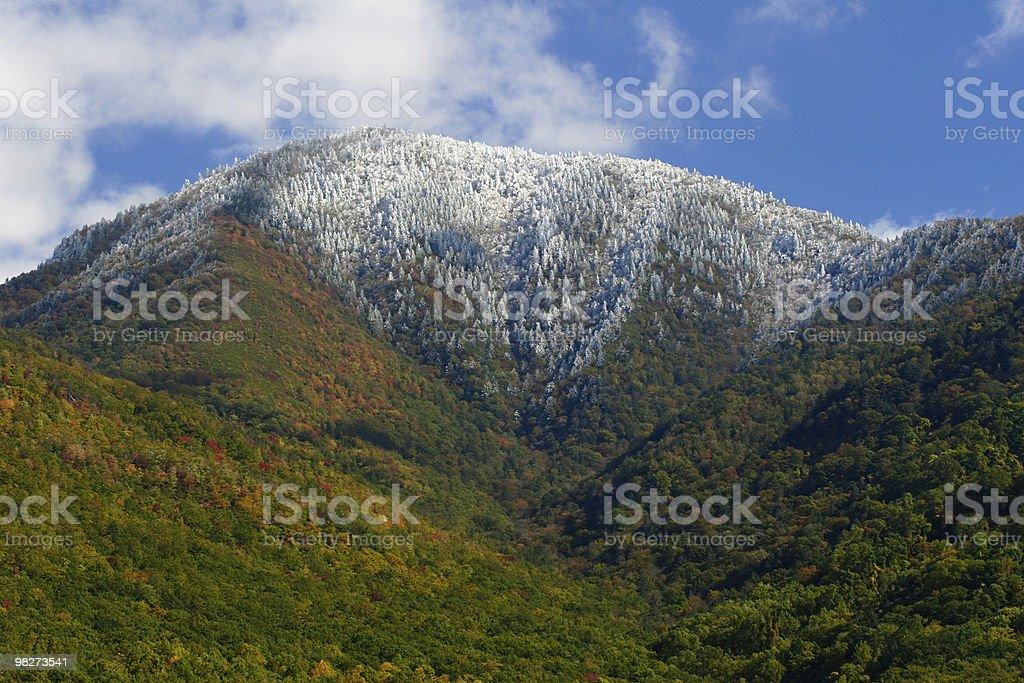 Snow-capped Autumn Mountain stock photo