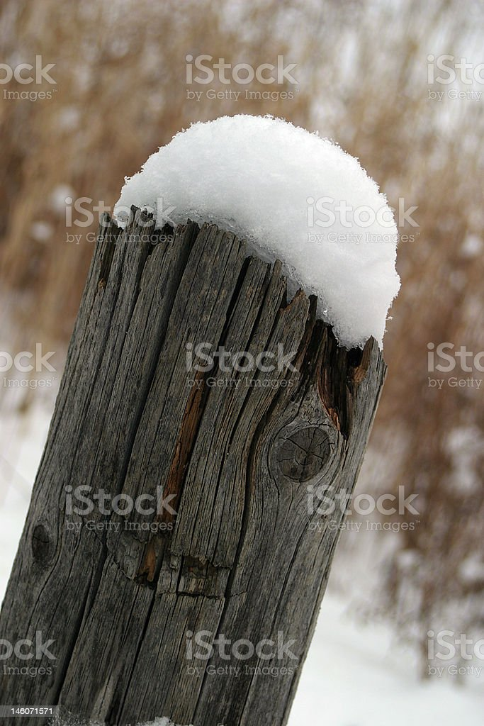 Snowcapped Fence Post stock photo
