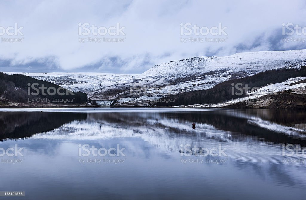 snowcapped hills dovestone royalty-free stock photo