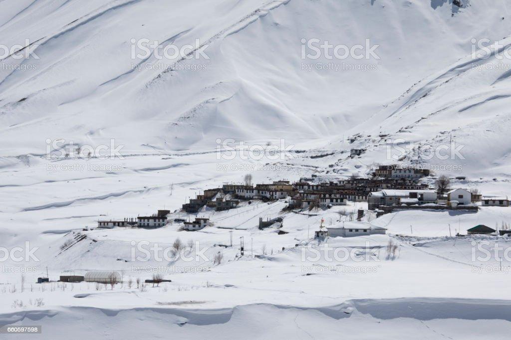 Snowcapped Himalayan mountain slope stock photo