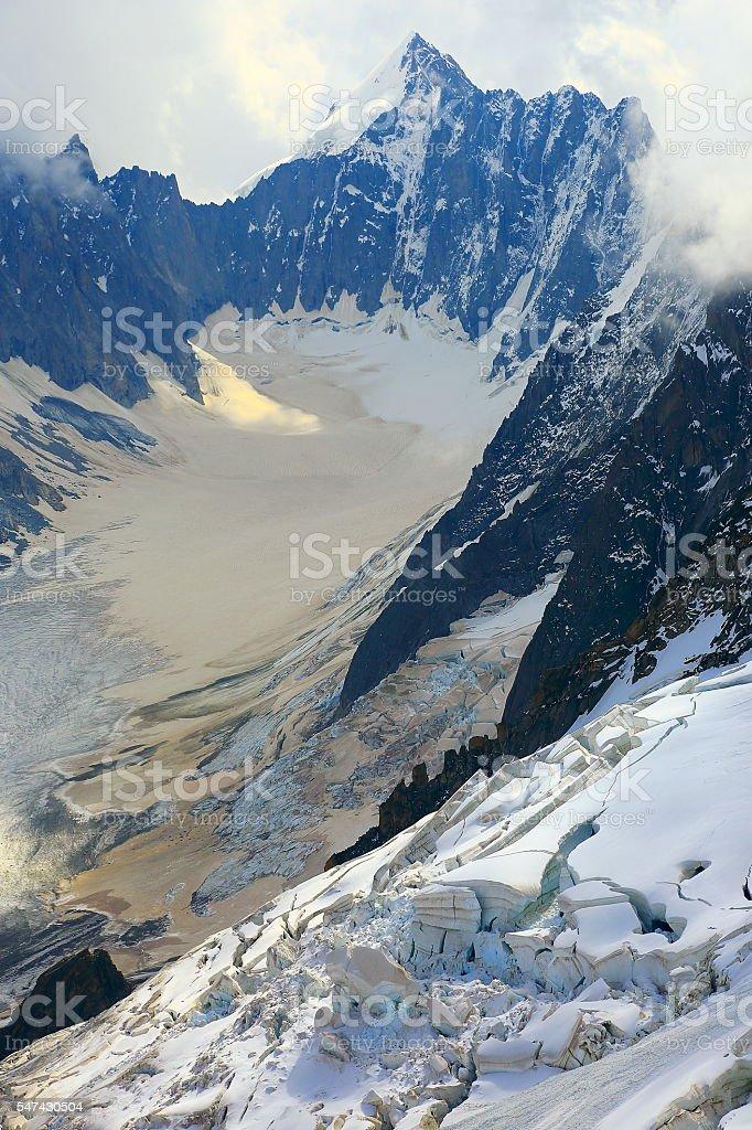 Snowcapped Mont Dolent, Argentiere Glacier Valley, Mont Blanc Massif stock photo