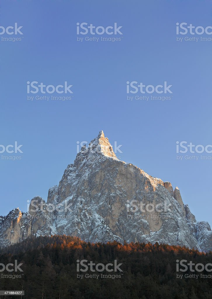 Montagna innevata,Alpe di Siusi stock photo