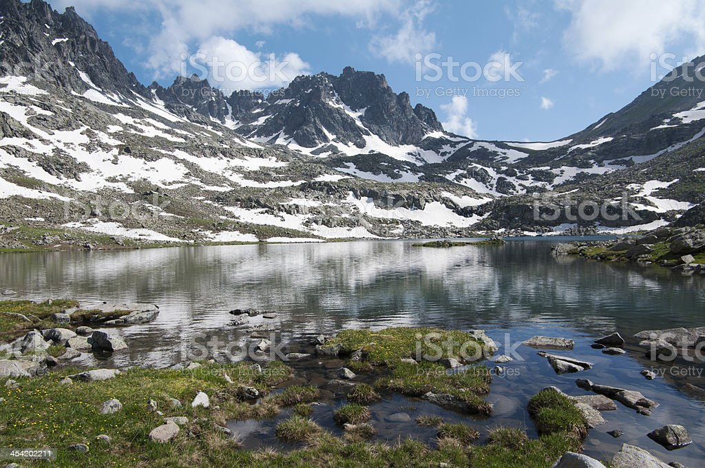 Snow-capped mountain and lake royalty-free stock photo