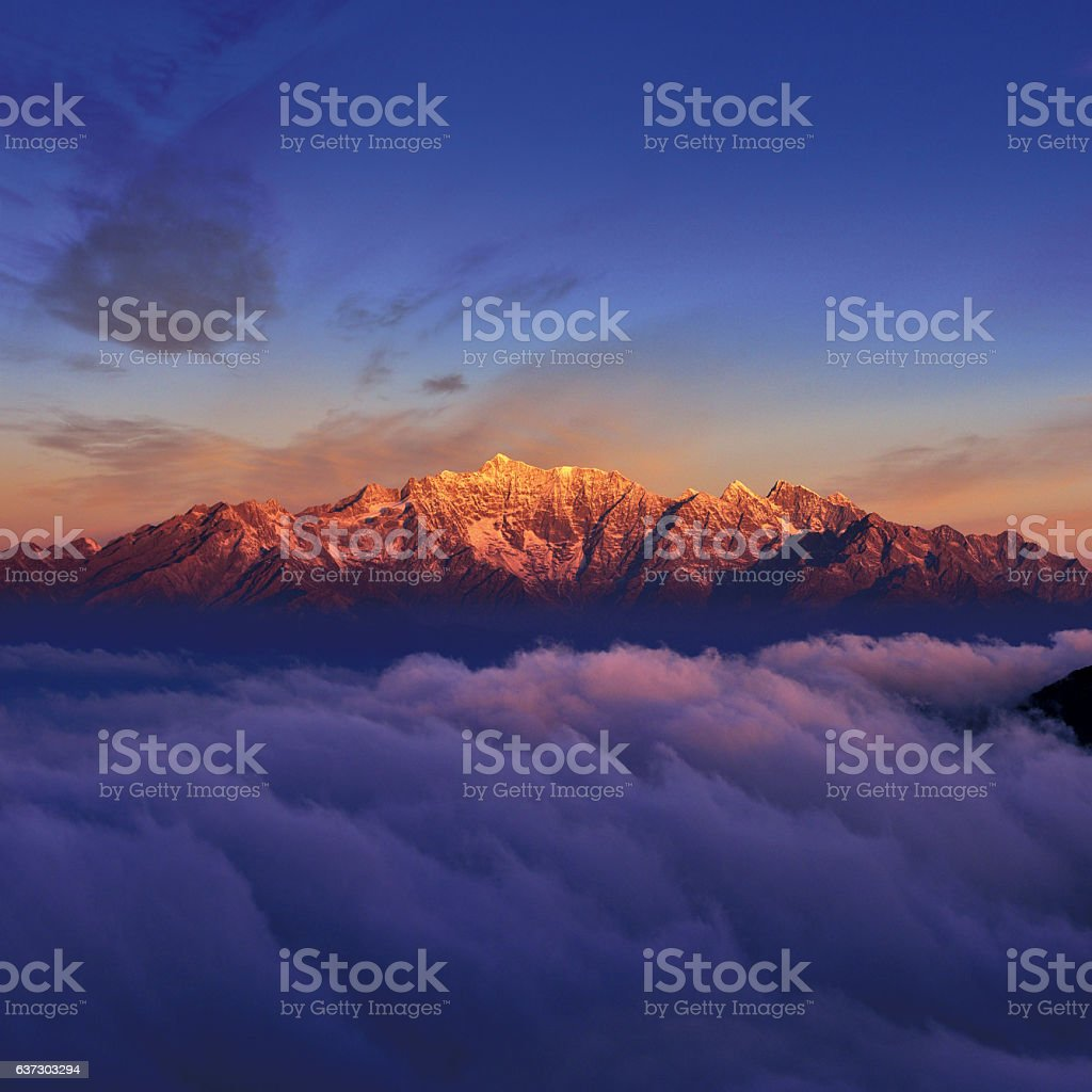Snowcapped Mountain at Sunrise stock photo