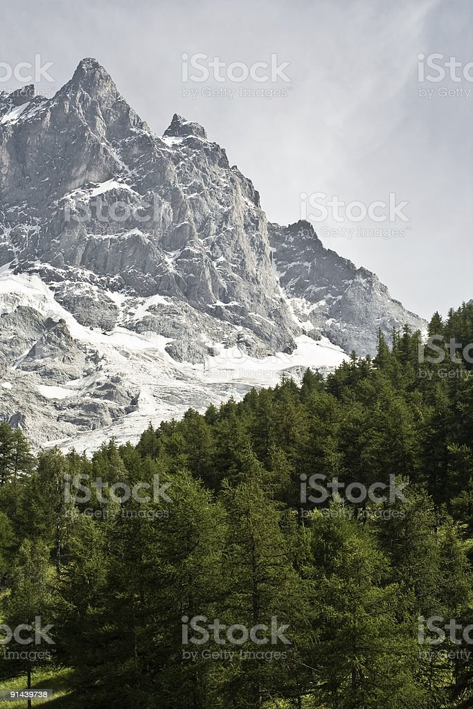 Snowcapped mountain peak (La Meije) stock photo