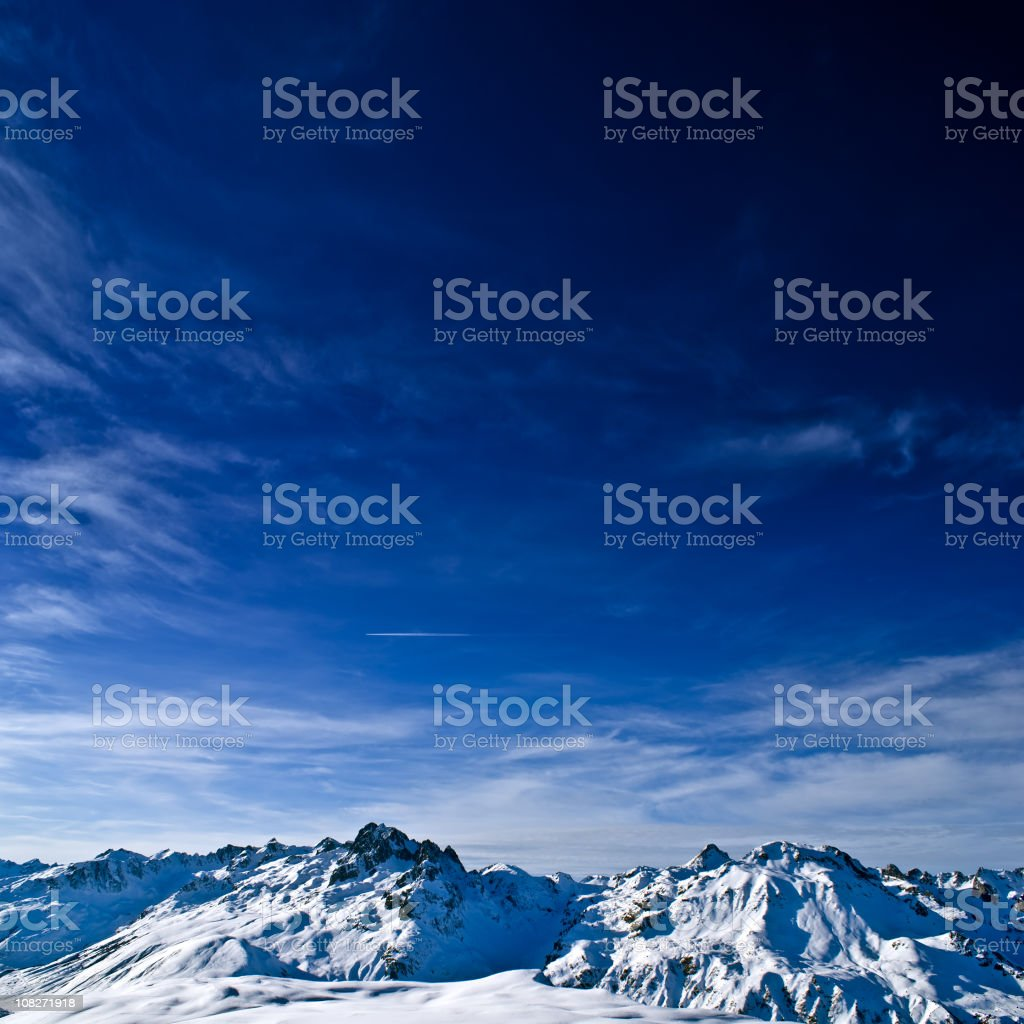 Snowcapped Mountain Peaks royalty-free stock photo