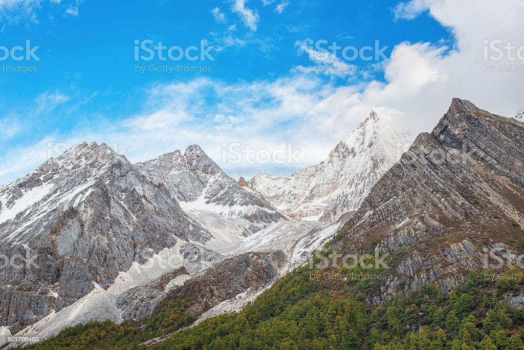 Snowcapped mountain stock photo